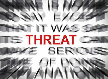 blured: Blured text with focus on THREAT Stock Photo