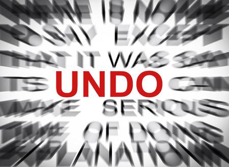 undo: Blured text with focus on UNDO Stock Photo