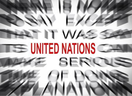 nazioni unite: Testo Blured con focus sul NAZIONI UNITE Archivio Fotografico