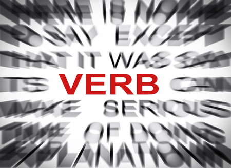 verb: Blured text with focus on VERB