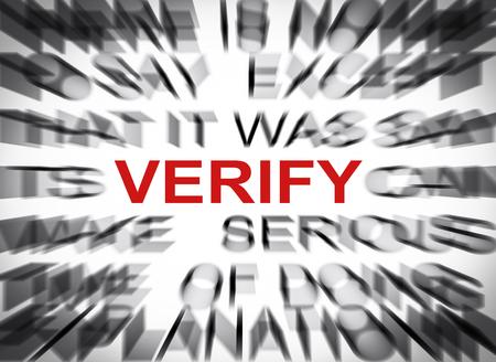 verify: Testo Blured con focus sul VERIFICARE