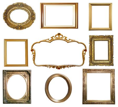 흰색 배경에 고립 된 골동품 황금 프레임