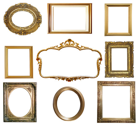 Antique golden frame isolated on white background photo