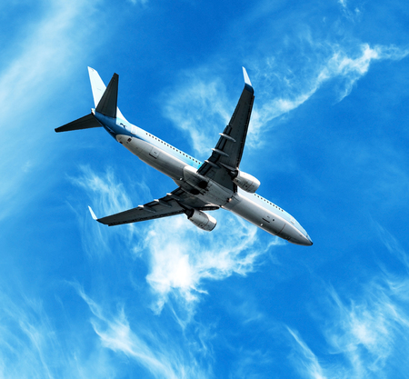 Big jet plane flying against perfect sky background  photo