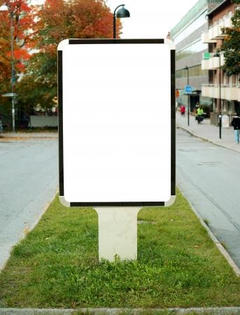 Empty billboard in city center