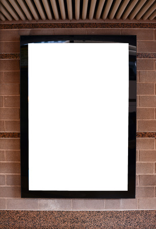Empty billboard on marble wall photo