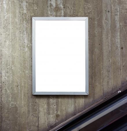 billboard advertising: Empty billboard with escalator background Stock Photo