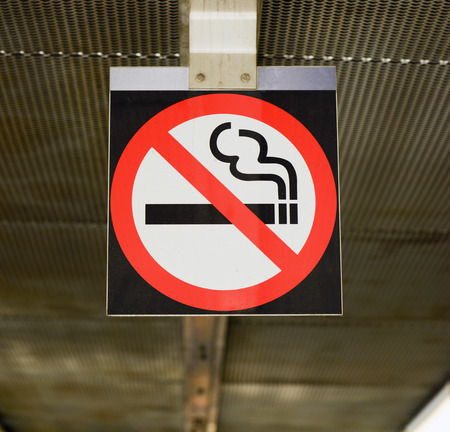not permitted: No smoking sign on hanging on ceiling Stock Photo