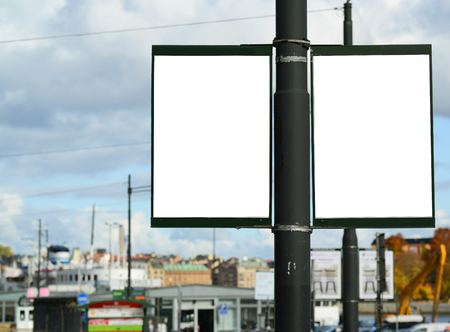 Pair of two empty street billboards photo