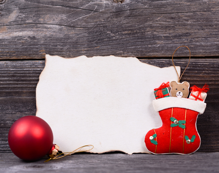 Christmas background with empty vintage paper and decoration photo