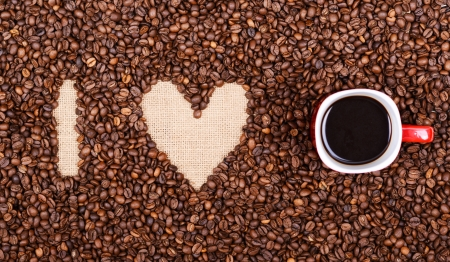 I LOVE COFFEE made of coffee beans and red coffee cup photo