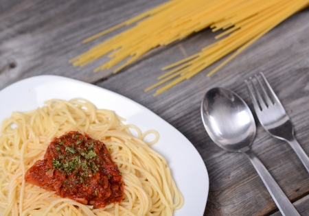 Spaghetti bolognese with  tomato beef sauce photo