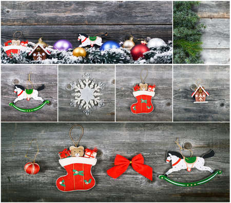 Christmas collage with beautiful decorative ornaments photo