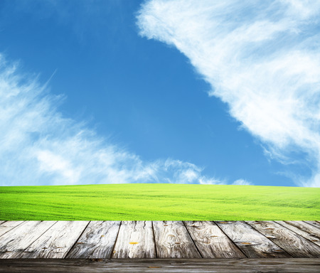 Fresh spring green grass with blue sky and wooden floor photo