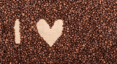 I LOVE COFFEE made of coffee beans photo
