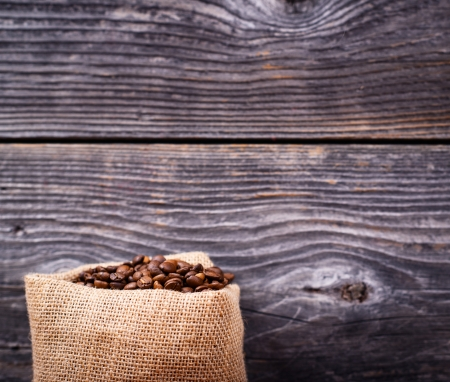 Sack of coffee grains photo