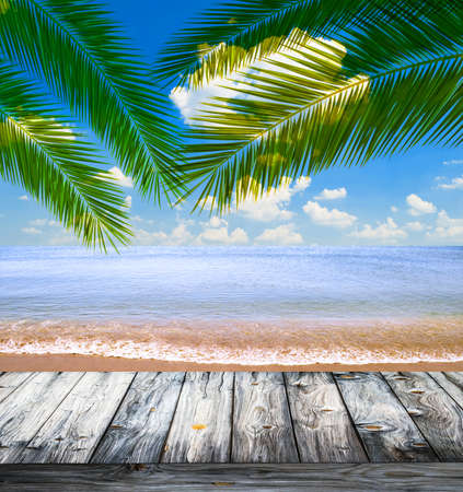 palm: Tropical sea and beach with palm leaves and wooden floor