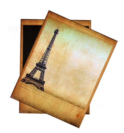 Vintage image of Eiffel tower isolated on white photo