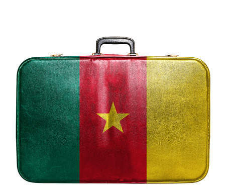 cameroonian: Vintage travel bag with flag of Cameroon