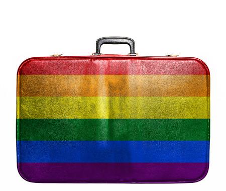 게이의 국기와 빈티지 여행 가방