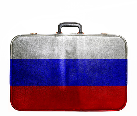 russian flag: Vintage travel bag with flag of Russia