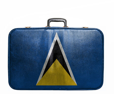 st lucia: Vintage travel bag with flag of St Lucia