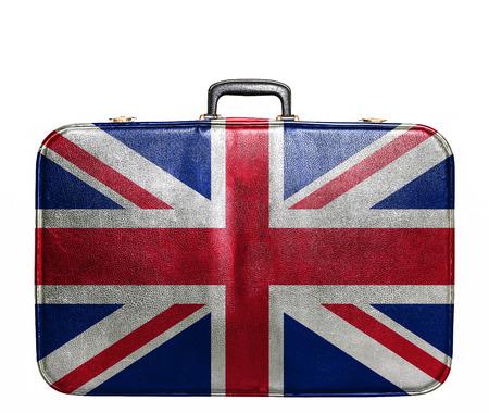 영국의 국기와 함께 빈티지 여행 가방 스톡 콘텐츠