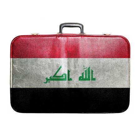 iraq money: Vintage travel bag with flag of Iraq