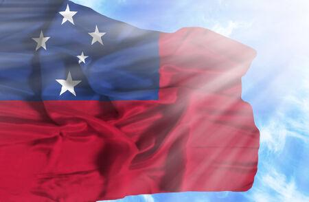 samoa: Samoa waving flag against blue sky with sunrays