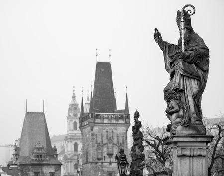 View on sculptures of the Charles bridge - Prague Czech Republic photo