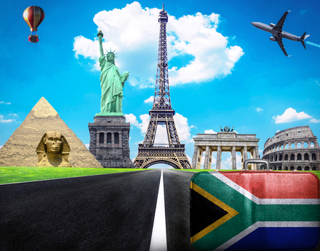 south african flag: Travel the world conceptual image - Visit South Africa Stock Photo