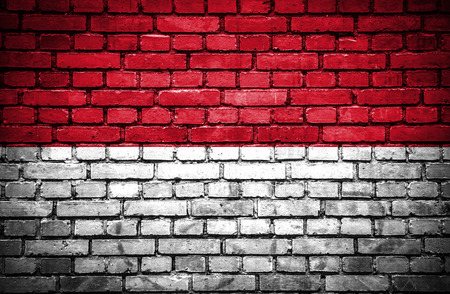 Brick wall with painted flag of Indonesia photo