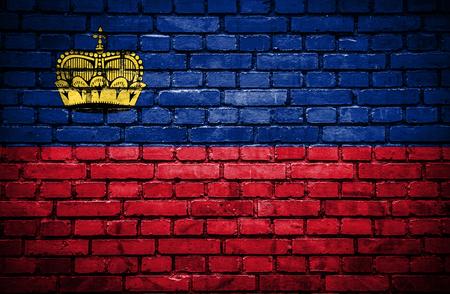 lichtenstein: Brick wall with painted flag of Lichtenstein