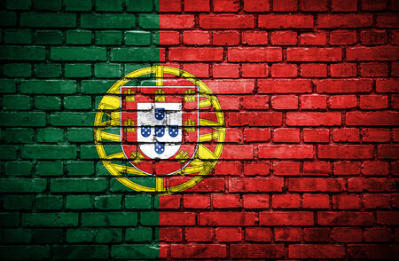 portugese: Brick wall with painted flag of Portugal