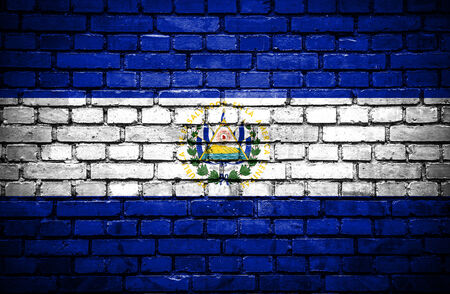world flags: Brick wall with painted flag of El Salvador Stock Photo