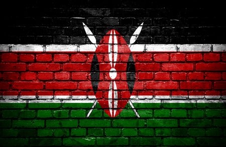 Brick wall with painted flag of Kenya photo