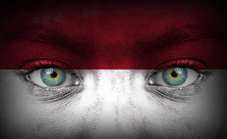 Human face painted with flag of Indonesia photo