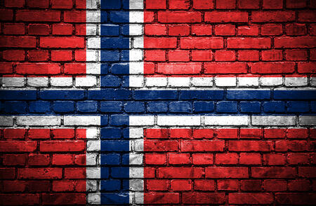 Brick wall with painted flag of Norway photo