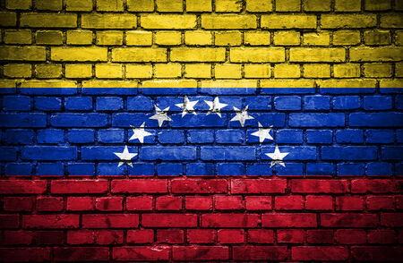 Brick wall with painted flag of Venezuela photo