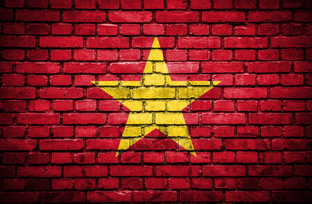 Brick wall with painted flag of Vietnam photo