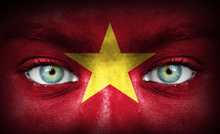 Human face painted with flag of Vietnam photo
