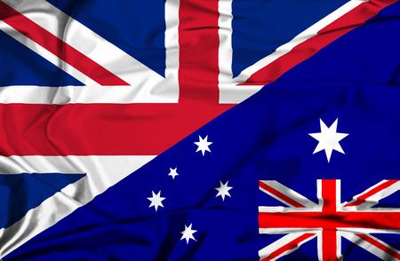 bandera uk: Ondeando la bandera de Australia y el Reino Unido