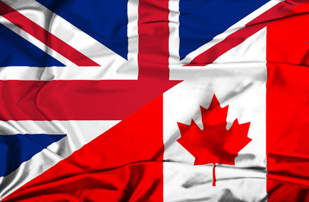Waving flag of Canada and UK photo