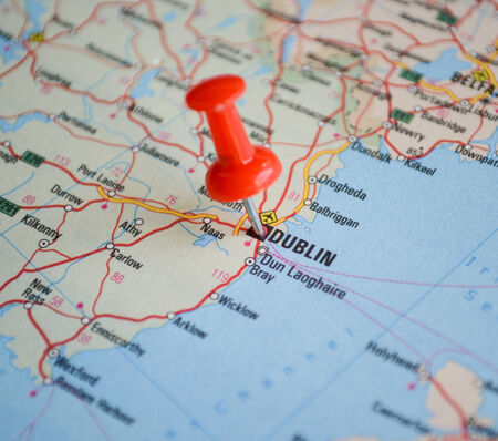 Close up of Dublin map with red pin - Travel concept photo