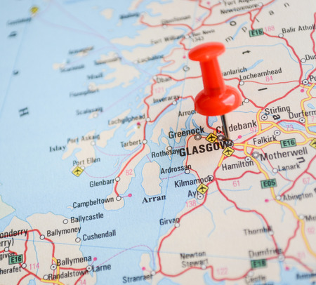 glasgow: Close up of Glasgow map with red pin - Travel concept