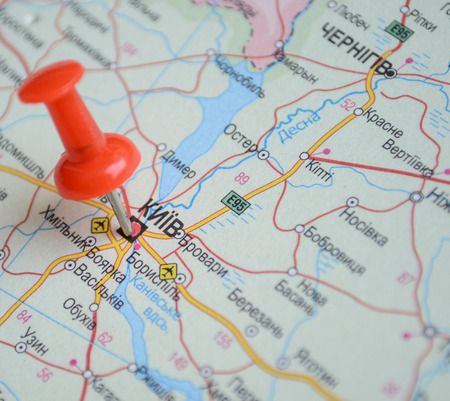 Close up of Kiyv map with red pin - Travel concept Stock Photo - 27771317