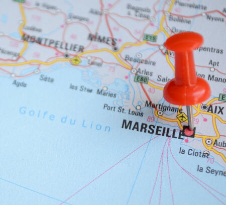 Close up of Marseille map with red pin - Travel concept photo