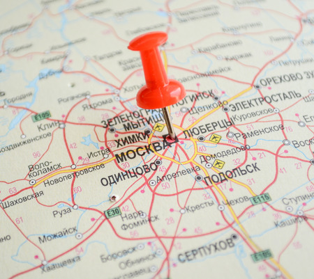 moskva: Close up of Moscow map with red pin - Travel concept Stock Photo