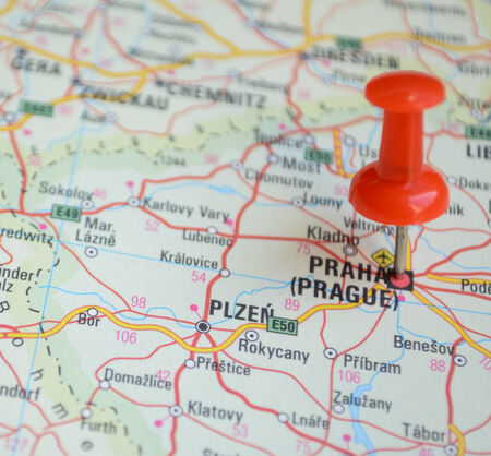 Close up of Prague map with red pin - Travel concept photo