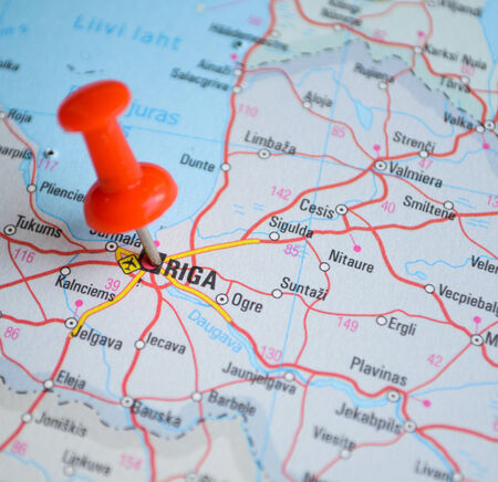 Close up of Riga map with red pin - Travel concept photo